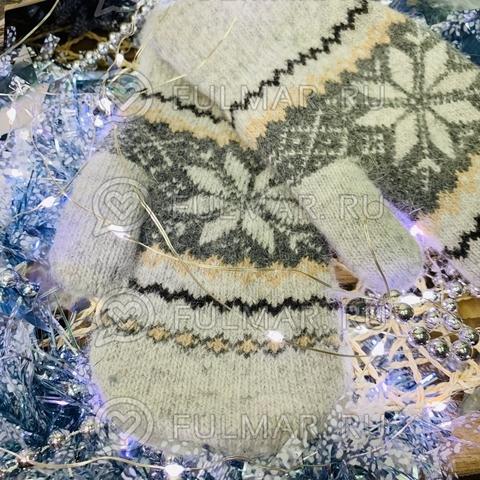 Варежки шерстяные вязаные Большая Снежинка (цвет: Серый)