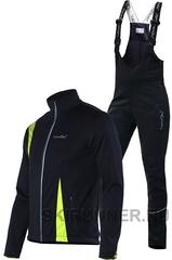 Детский утеплённый лыжный костюм Nordski Active Black-Lime 2016