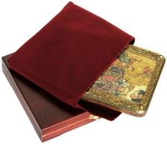 Инкрустированная икона Чудо Димитрия Солунского о царе Калояне 20х15см на натуральном дереве в подарочной коробке