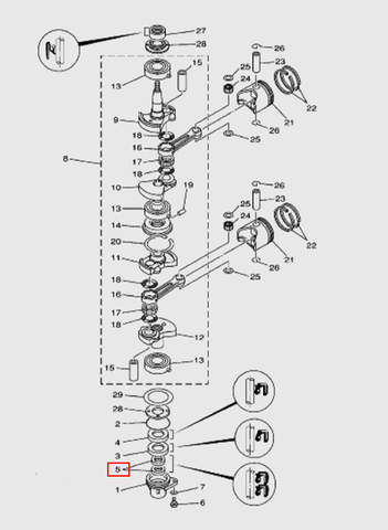 Сальник 13х25х6 для лодочного мотора T15, OTH 9,9 SEA-PRO (3-5)