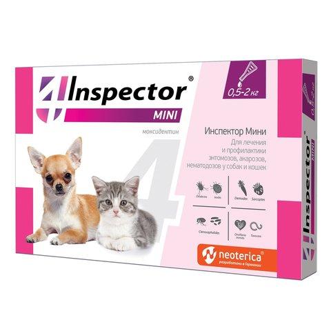 Инспектор мини капли для кошек и собак  0,5-2кг от внешних и внутренних паразитов
