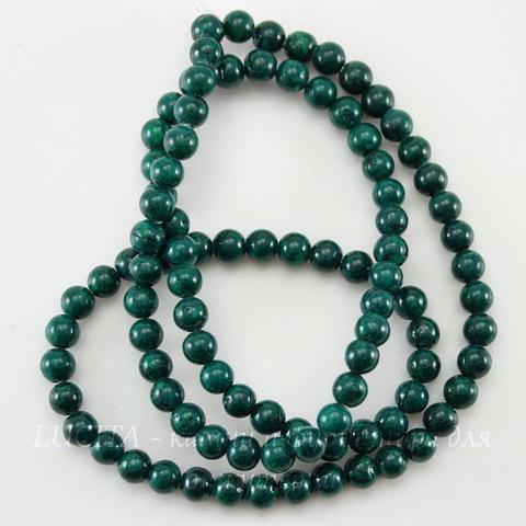 Бусина Коралл (искусств, тониров), шарик, цвет - зеленый, 4 мм, нить
