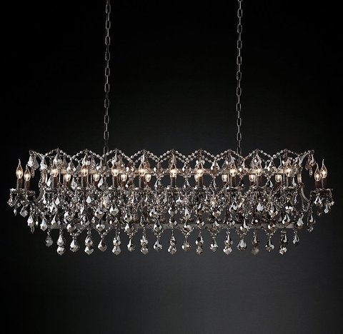 19th C. Rococo Iron & Smoke Crystal Rectangular Chandelier 63
