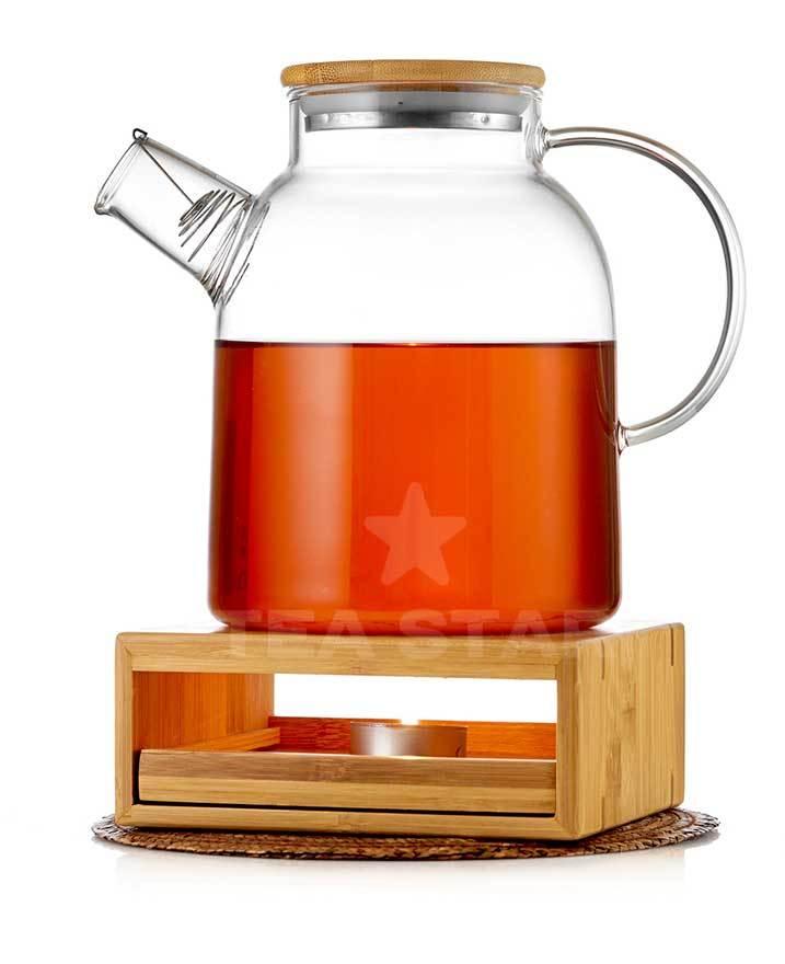 Заварочные стеклянные чайники Чайник с подогревом от свечи (стеклянный) на бамбуковой подставке 1,5 литра chainik_s_podogrevom_svechey-Teastar-1500.jpg