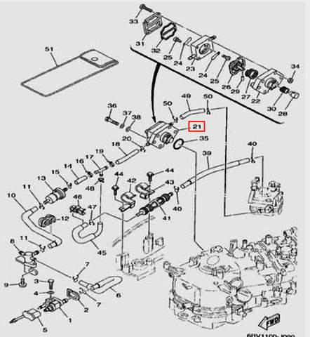 Насос топливный в сборе  для лодочного мотора F5 Sea-PRO(9-21~34)