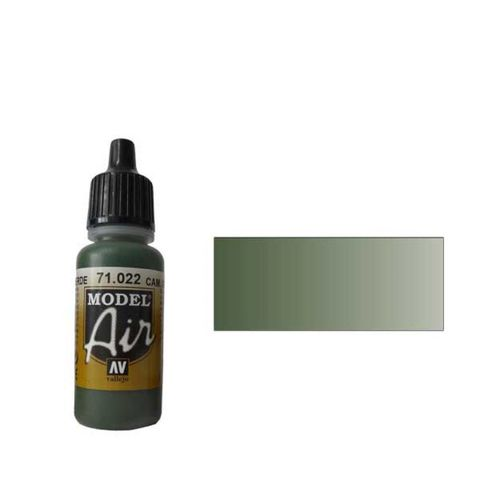 022 Краска Model Air Комуфляжный зеленый (Cam. Green) укрывистый, 17мл
