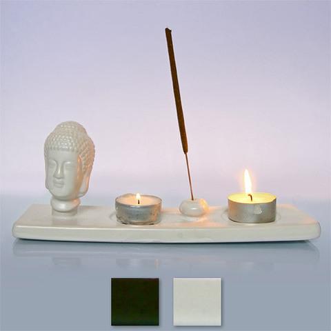 Подставка под благовония и 2 свечи Голова Будды глина