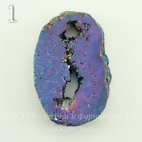Бусина Агат с Кварцем с жеодой (тониров), цвет - бензиновый, 45-72 мм (№1 (45х34 мм))