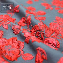 Серый жаккард с красными розами