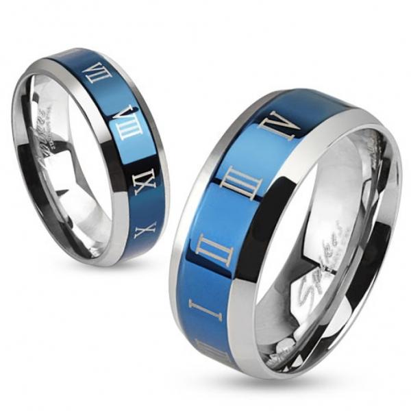 Кольцо синее из медицинской стали для мужчин и женщин с римскими цифрами SPIKES R-M0030