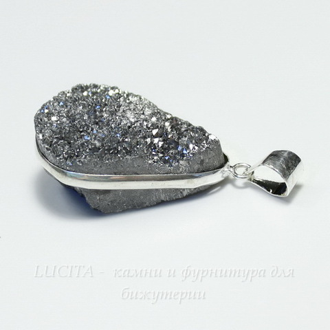 Подвеска Кварц в рамке (цвет - античное серебро) 33,2х22,5х15,4 мм №8