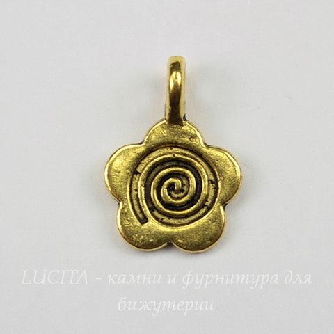 """Бейл с площадкой """"Цветочек"""" 15х10 мм (цвет - античное золото)"""