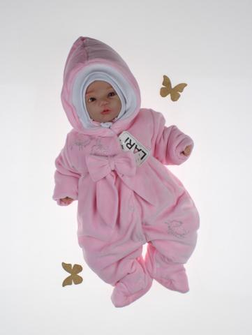 Велюровый комбинезон для новорожденных Бабочка (розовый)