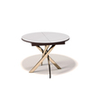 Стол кухонный KENNER R1100 раздвижной, стекло крем, подстолье венге, опора золото