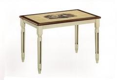 Стол с плиткой Дубай CT 3045 (LEG H) Античный белый/Тёмный дуб