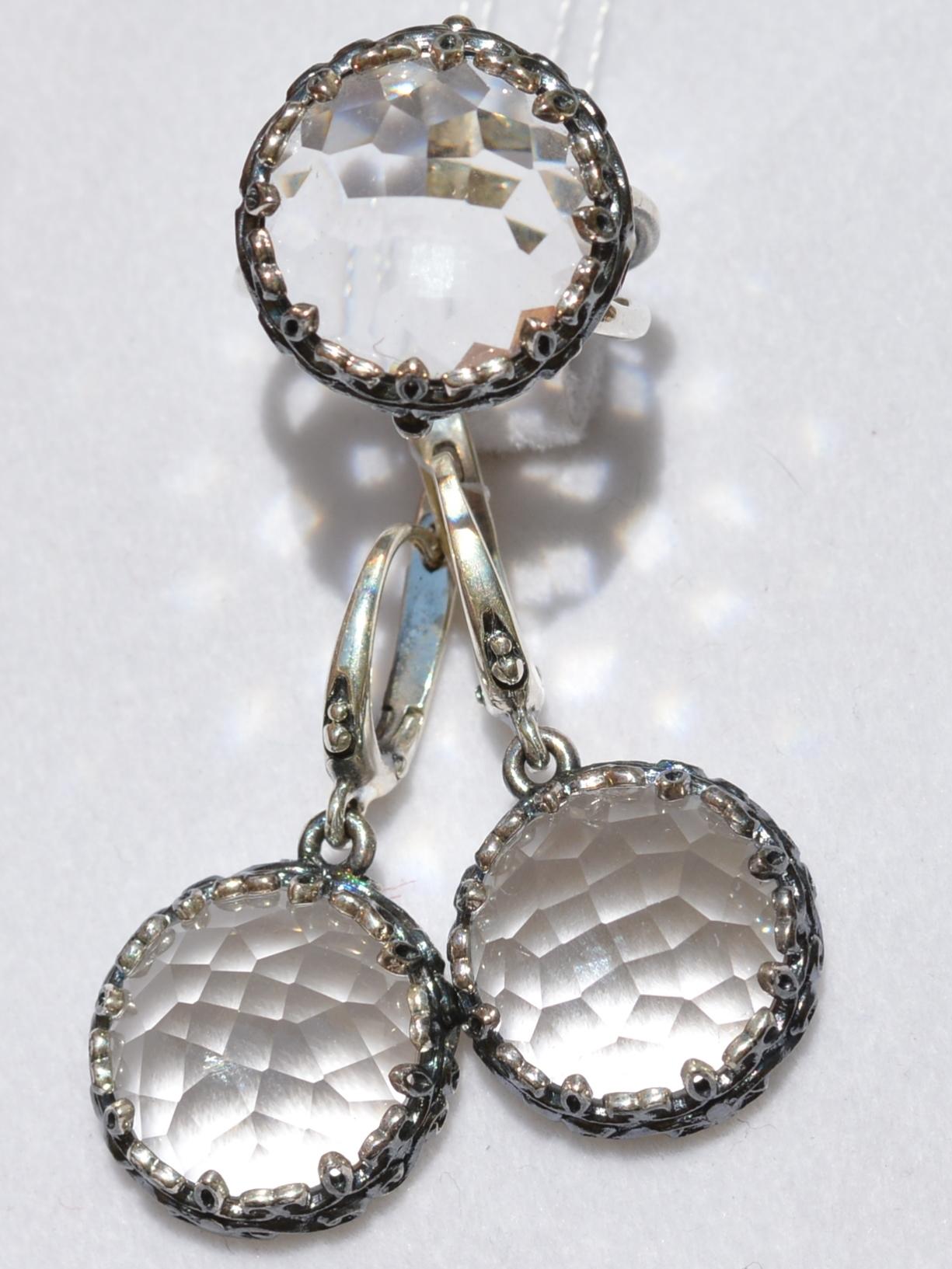 Хелена-хрусталь(кольцо + серьги из серебра)
