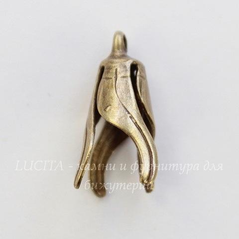 Винтажный декоративный элемент - шапочка - конус с петелькой 16х9 мм (оксид латуни)