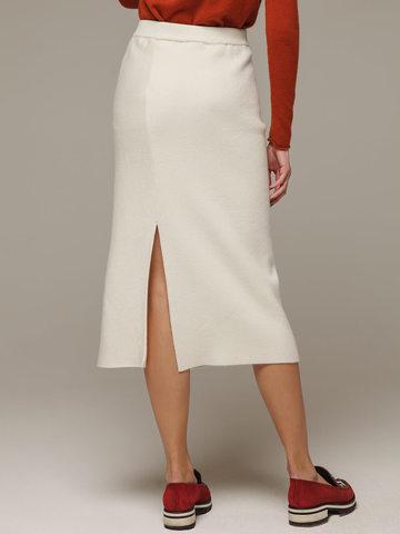 Женская белая юбка с разрезами из шерсти и кашемира - фото 2