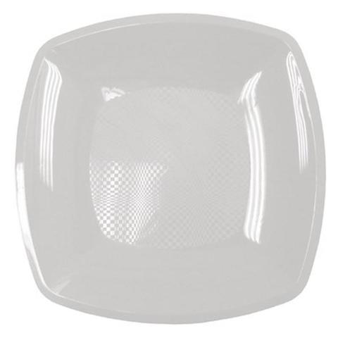 Тарелка одноразовая квадратная плоская белая 23 см ПП 12 шт/уп