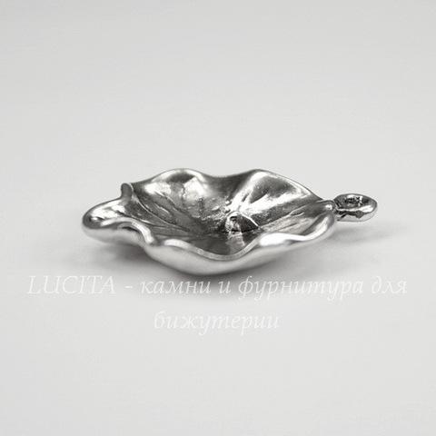 """Коннектор """"Кувшинка"""" (1-1) 28х23 мм (цвет - античное серебро)"""