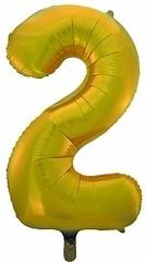 Шар (34''/86 см) Цифра, 2, Золото, 1 шт.