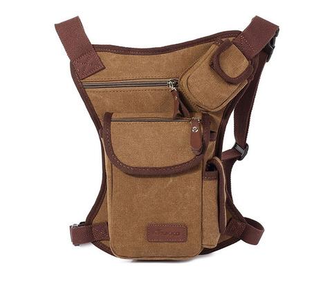 Набедренная сумка из ткани коричневого цвета