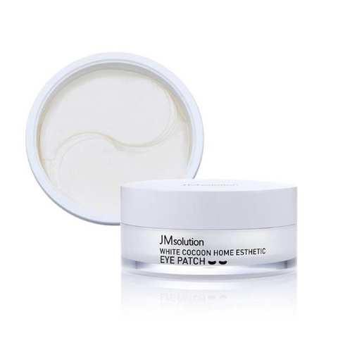Гидрогелевые патчи с экстрактом жемчуга, гиалуроновой кислотой и аминокислотами шелкопряда, 60 шт. / JMSolution White Cocoon Home Esthetic Eye Patch