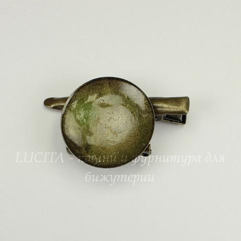Основа для броши с круглой площадкой 28 мм с двумя креплениями (цвет - античная бронза)