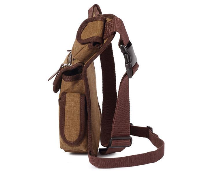 BAG395-2 Набедренная сумка из ткани коричневого цвета фото 03