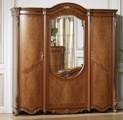 Шкаф 4-х дверный с зеркалом Юлиана (3172 MK-3011-BR) Темный орех