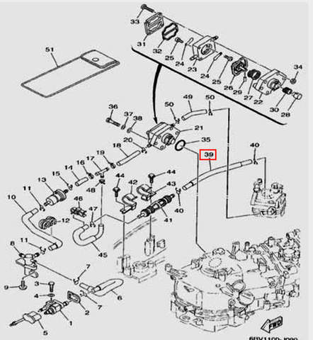 Шланг L=180mm для лодочного мотора F5 Sea-PRO(9-39)