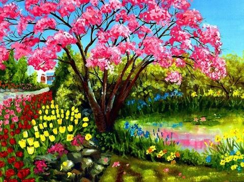Весеннее цветение - раскраски по номерам на картоне