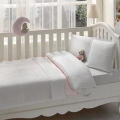 НАБОР ЯСЛИ Детское  постельное белье  с пледом COUPLE BEBE розовый deluxe TIVOLYO HOME Турция