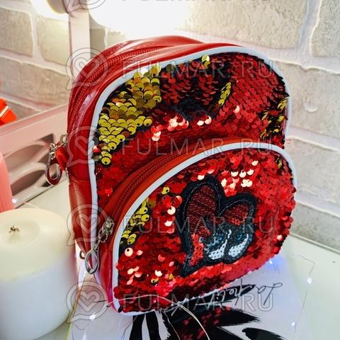 Рюкзак-сумка детский красный Трансформер с нашивкой в пайетках Красный-Золотистый