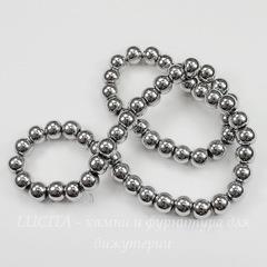 Бусина Гематит немагнитный (Категория A), шарик, цвет - серебро, 8 мм, нить