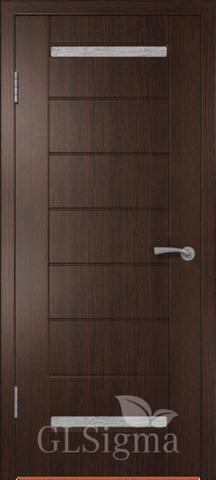 Дверь GreenLine Sigma-1, стекло белое, цвет венге, остекленная