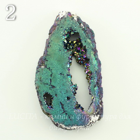 Бусина Агат с Кварцем с жеодой (тониров), цвет - бензиновый, 45-72 мм (№2 (46х29 мм))