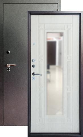 Дверь входная Форт Форт Б-14, 2 замка, 1,8 мм  металл, (серебро антик+беленый дуб)