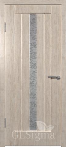 Дверь GreenLine Sigma-2, стекло белое, цвет беленый дуб, остекленная
