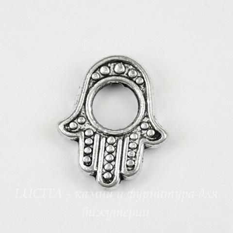 "Рамка для бусины ""Рука Хамса"" 15х12мм (цвет- античное серебро)"
