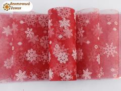 Фатин со снежинками красный ширина 15 см (уценка)