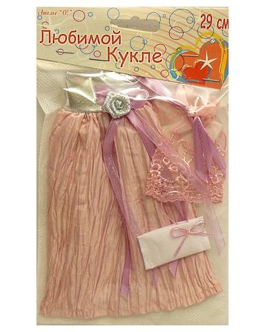 Платье из жатой парчи - Розовый / серебро. Одежда для кукол, пупсов и мягких игрушек.