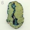 Бусина Агат с Кварцем с жеодой (тониров), цвет - синий с золотым, 45-51 мм