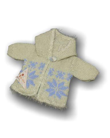 Вязаный удлиненный жакет с капюшоном - Белый. Одежда для кукол, пупсов и мягких игрушек.