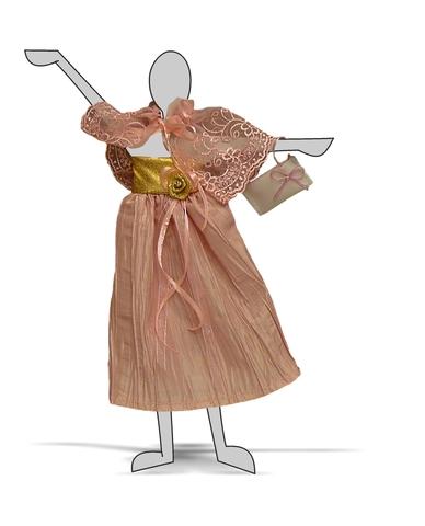 Платье из жатой парчи - Демонстрационный образец. Одежда для кукол, пупсов и мягких игрушек.