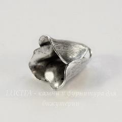 Винтажный декоративный элемент - шапочка в виде цветка 13х12 мм (оксид серебра)