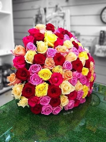 101 роза микс 70 см #14155