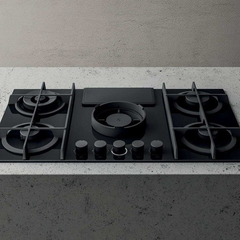 Газовая варочная панель со встроенной вытяжкой Elica NikolaTesla FLAME BL/A/88