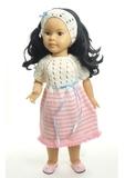 Вязаное платье с полоской - на кукле. Одежда для кукол, пупсов и мягких игрушек.