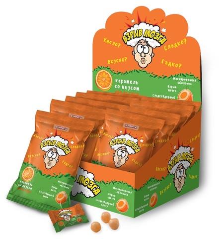 ВЗРЫВ МОЗГА карамель со вкусом апельсина в пакете, 1кор*12бл*24шт 15г